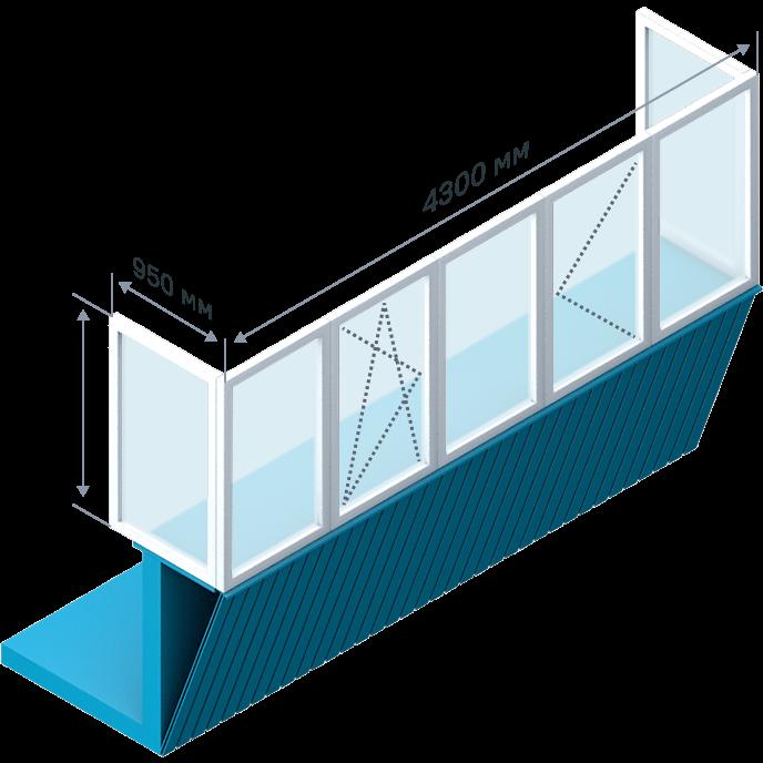 Остекление с выносом П-образного балкона
