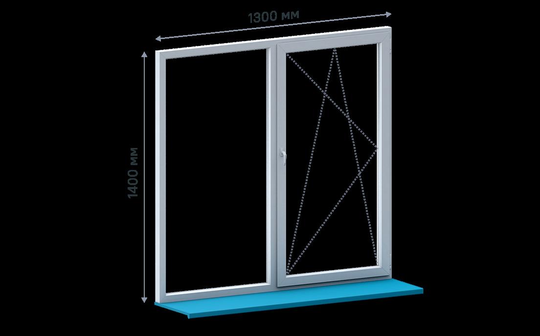 Двухстворчатое окно без монтажа