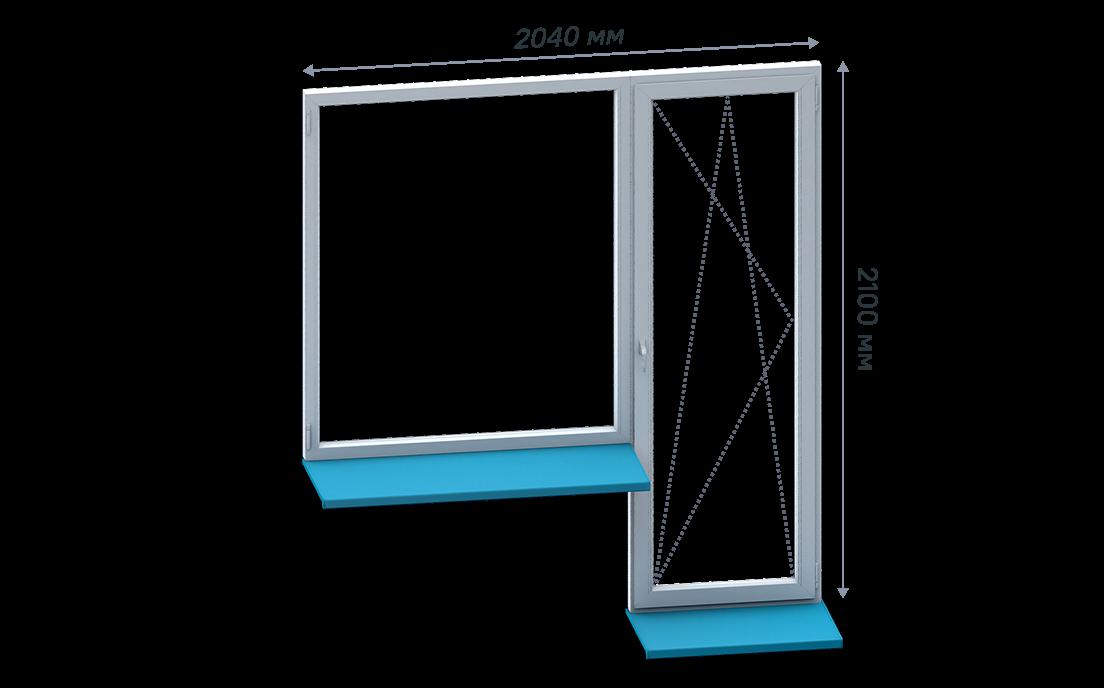Г-образный балконный блок без монтажа