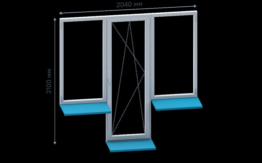 Т-образный балконный блок без монтажа